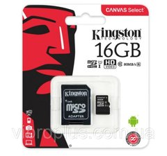 Карта памяти micro-SD 16Gb Kingston Canvas Select UHS-1 class10